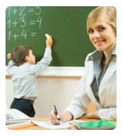 teacher smiling while student is solving some math problems in the board